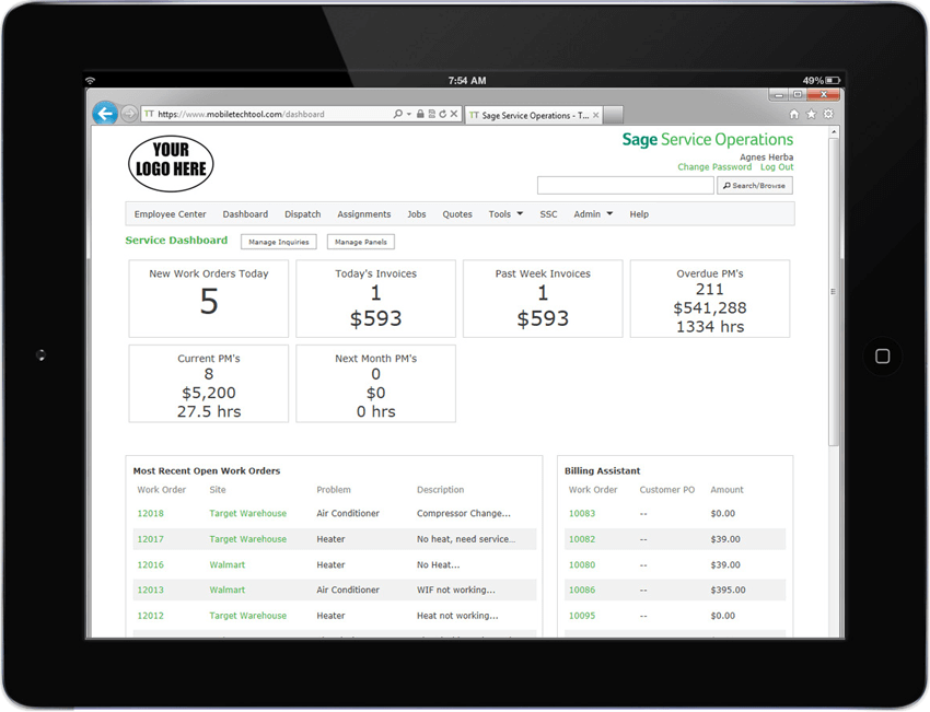 Sage Service Operations on iPad