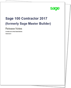 Sage 100 Contractor 2017 Release Notes