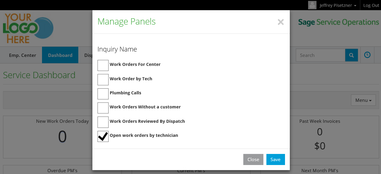 Manage Panels Screen