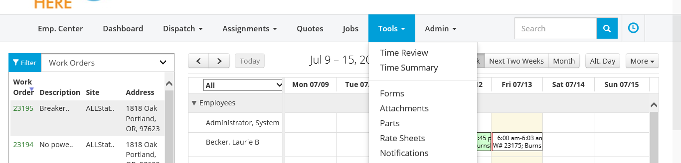 SSO Tools Screen