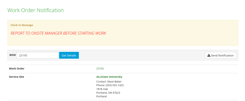 Work Order Confirmation