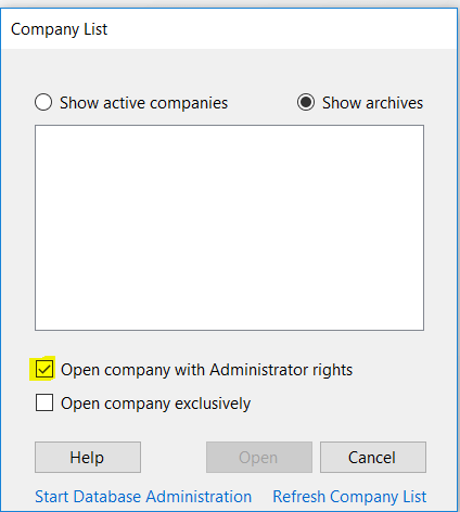 Sage 100 Security Admin Screen