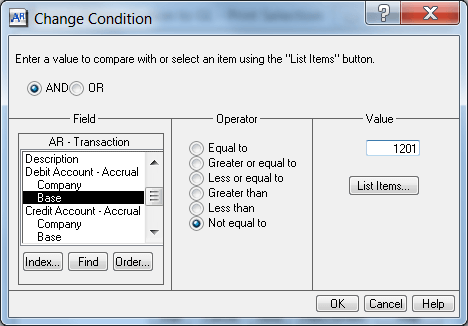 change condition screen