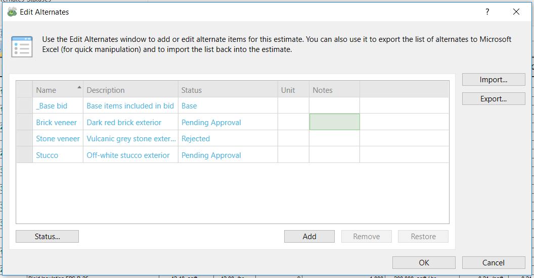 Sage Estimating Edit Alternates