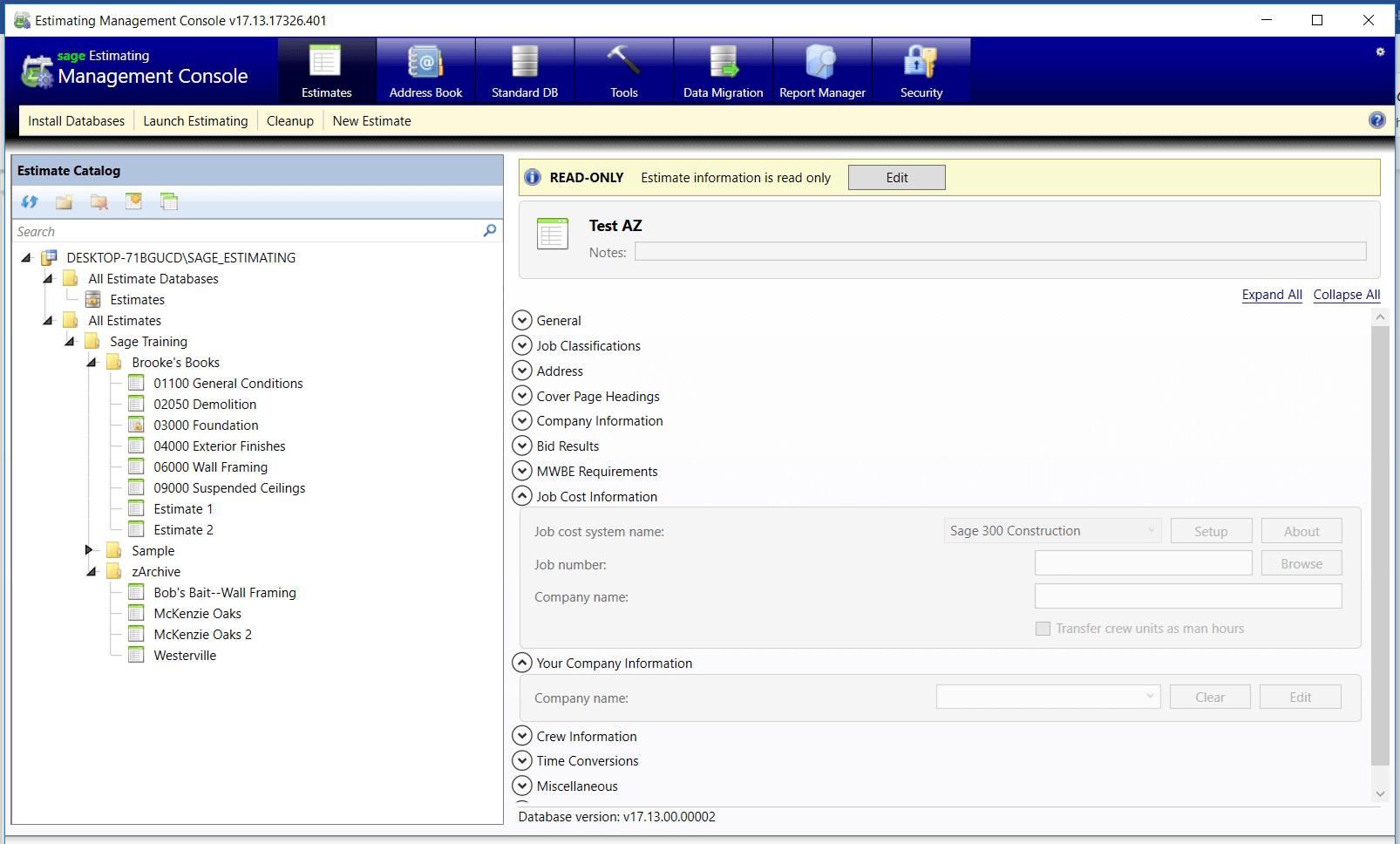 Sage Estimating Management Console