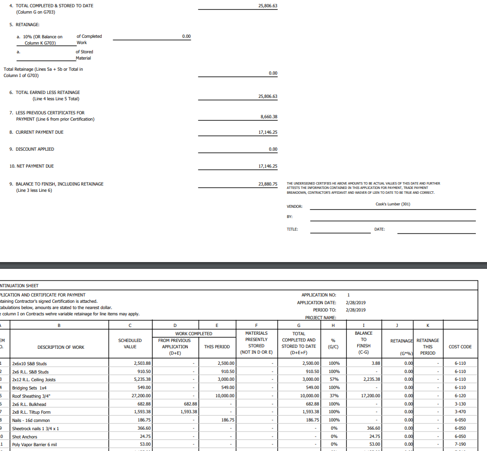 Print AIA invoice screen