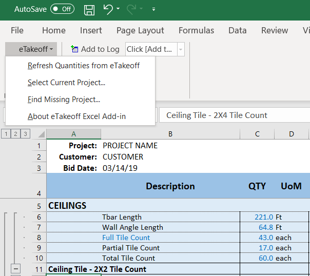 etakeoff Excel integration