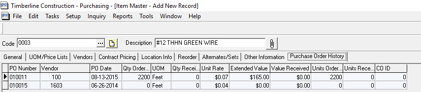 Timberline office purchasing record