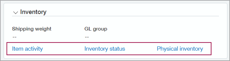 intacct inventory screen