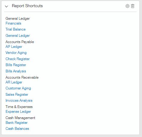 intacct report shortcuts