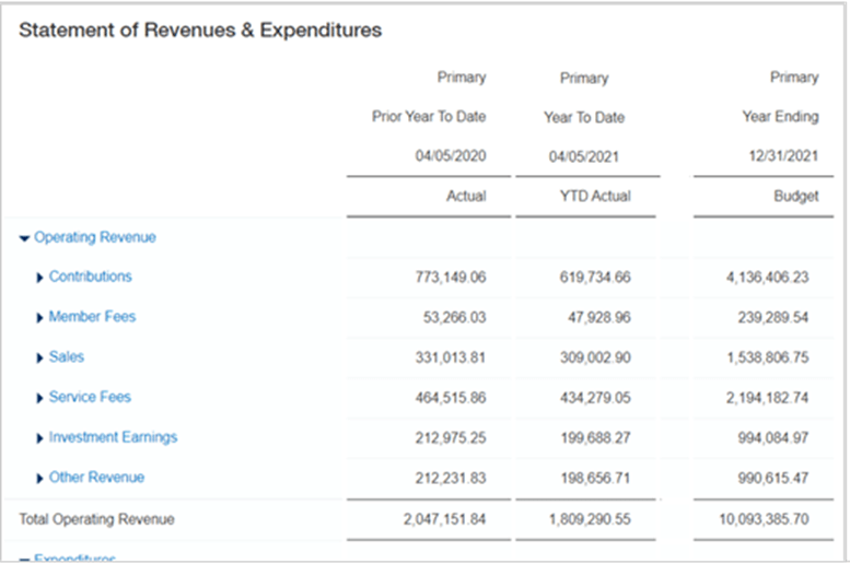 Intacct statement of revenues and expenses