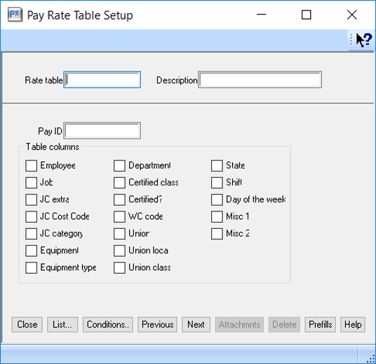 sage 300 cre pay rate table