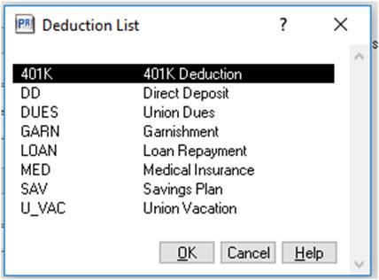 payroll deduction list