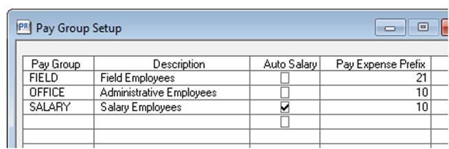 payroll pay group setup